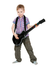 The boy with the electronic guitar