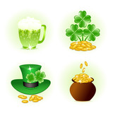 Vector of a set of four icons for patrick day