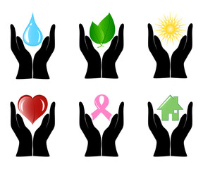 Vector illustration of a set of environment icons with human han