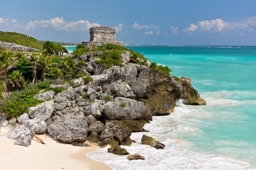 Mayan ruins on top of the cliff.