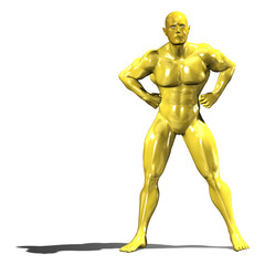Gold hero man statue in confident pose