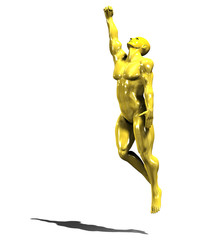 Gold hero man statue in victory pose