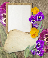 Grunge frame with pansy and paper