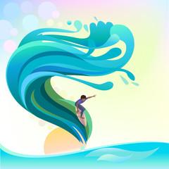 Adventure Surfing on High Waves