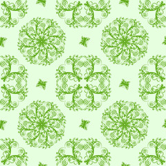 Vector of a green seamless floral background