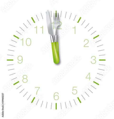 Midi : l'heure du déjeuner (pendule fourchette couteau)