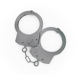 Steel handcuff closeup