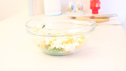 Preparation of salad from eggs