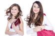 Teene Models mit Handtasche lachen
