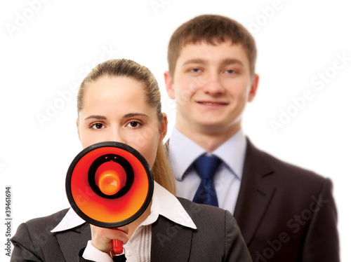 Business people with a loudspeaker