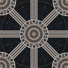 illu. based on aboriginal style of dot painting depicting circle