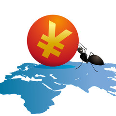 Ant with a big symbol of Yuan on world`s map