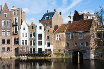 Historic cityscape along a channel in Delfshaven, a district of