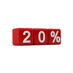 3D red blocks with twenty percent text