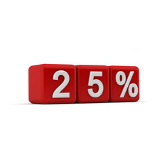 3D red blocks with twenty five percent text