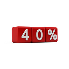 3D red blocks with fourty percent text