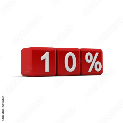 3D red blocks with ten percent text