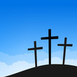 Three Crosses on Blue Sky
