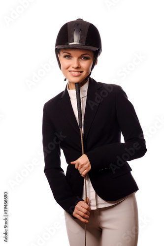 Smiling strict jockey