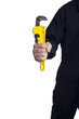 handyman holding an adjustable pipe wrench