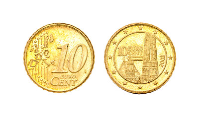 isolated image of 10 Euro cent coin