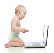 funny child using a laptop