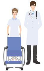 車いすをもつ看護士と医師