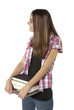 Young woman college student with books.