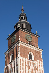 The gothic Clock Tower on the main square in Krakow, Poland