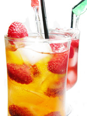 fruit cold cocktail drinks with raspberry