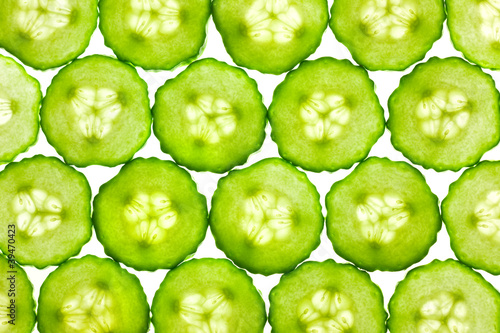 Plexiglas Plakjes fruit Slices of fresh Cucumber / background / back lit
