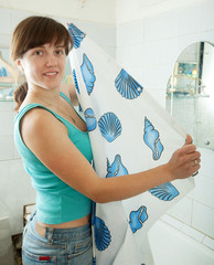 woman with shower curtain