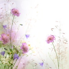 Beautiful pastel floral border - blurred background © artmim