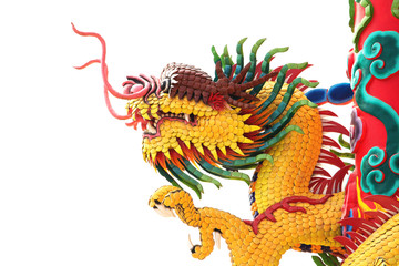 head of yellow dragon statue
