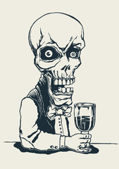 skeleton in a suit with a glass of poison. vector illustration.