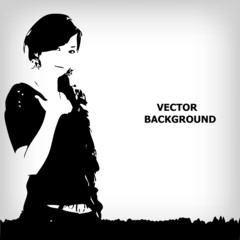 abstract silhouette girl background