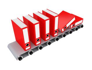 Red office folder on conveyor.