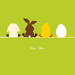 4 sitzende Osterfiguren