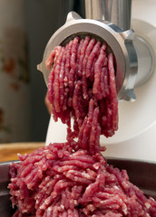 minced meat in grinder
