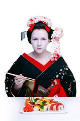 geisha and sushi