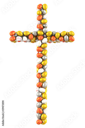 Cross made ​​of many Easter Eggs. 3d render