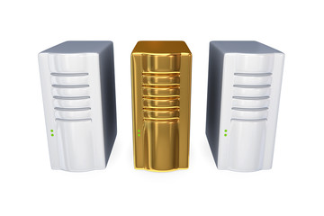 Two usual server PC's and golden one.