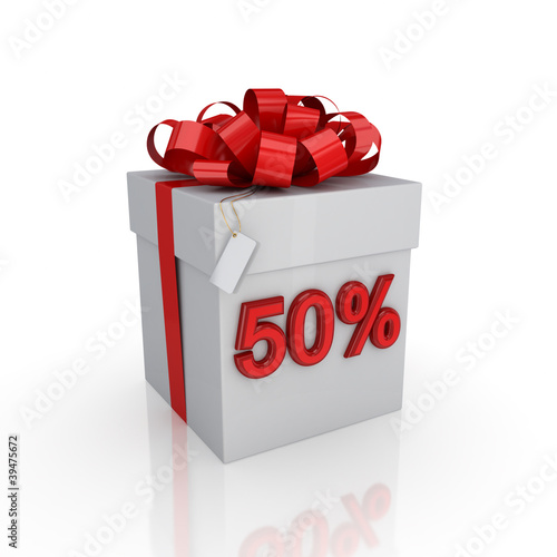 Gift box with a signature 50%.