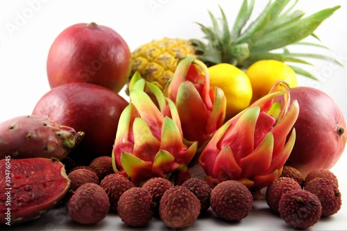 Dragon fruits and other tropical fruits