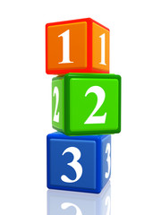 123 color cubes heap