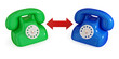 Green and blue telephones