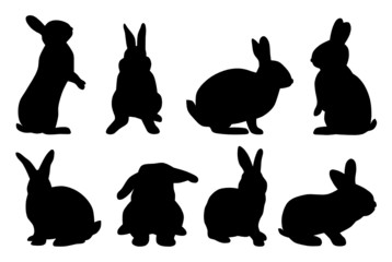 set of rabbit silhouettes