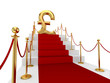 Pound sterling sign on a red carpet.