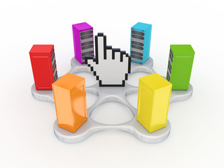 Colorful servers around large cursor.