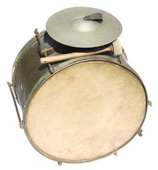Big vintage orchestral drum on white background